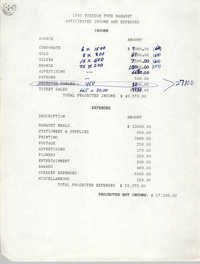 Anticipated Income and Expenses, 1989 Freedom Fund Banquet