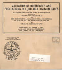 Valuation of Businesses and Professions in Equitable Division Cases, Continuing Judicial Education Seminar Pamphlet, December 12, 1985, Russell Brown