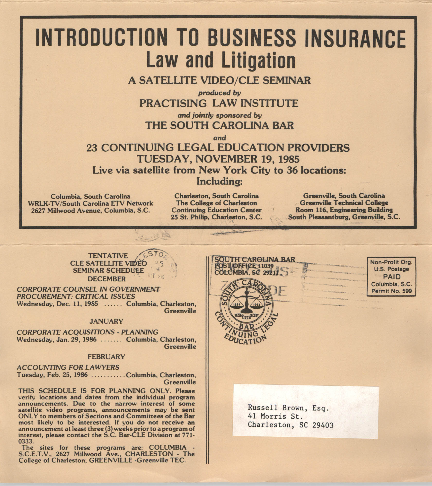 Introduction to Business Insurance Law and Litigation, Satellite Vide/CLE Seminar Pamphlet, November 19, 1985, Russell Brown