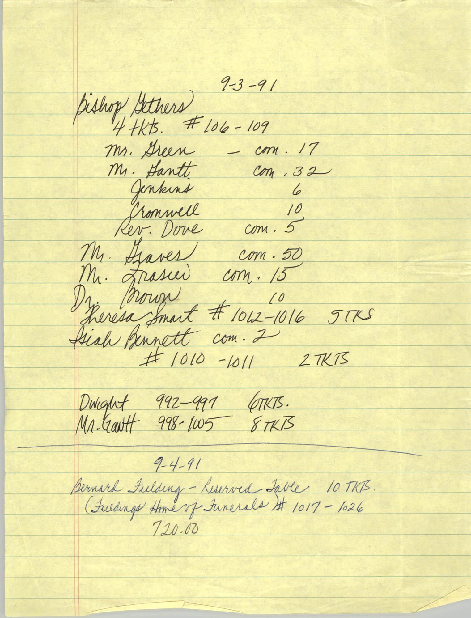 Handwritten Notes, Tickets, September 1991
