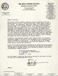 Department of Consumer Affairs, Stephen W. Hamm, Memorandum
