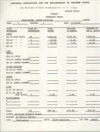 Membership Report, Russell Brown, NAACP, December 26, 1985