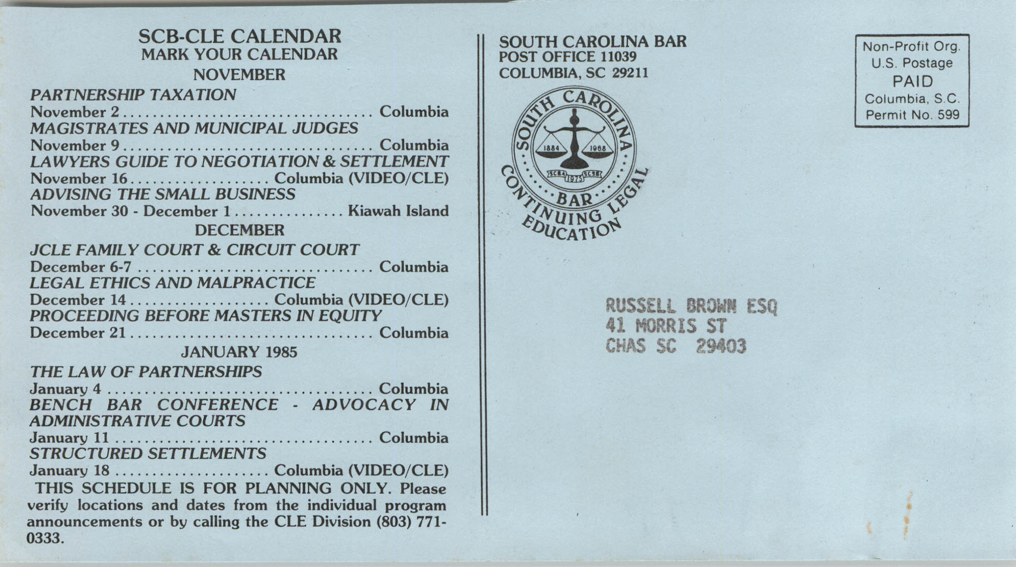 South Carolina Bar, Continuing Legal Education Calendar of Events, Russell Brown