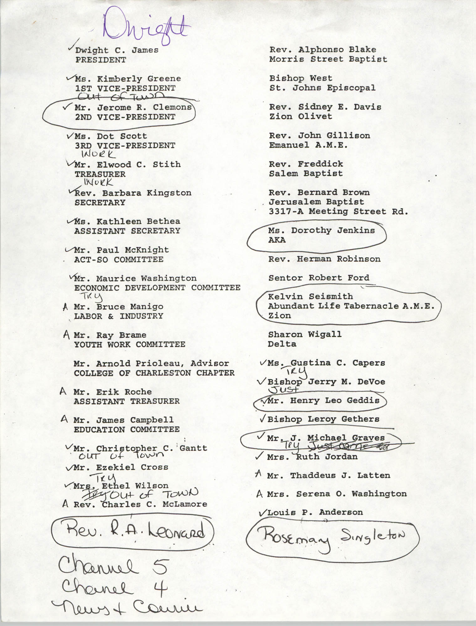 Membership List, Charleston Branch of the NAACP