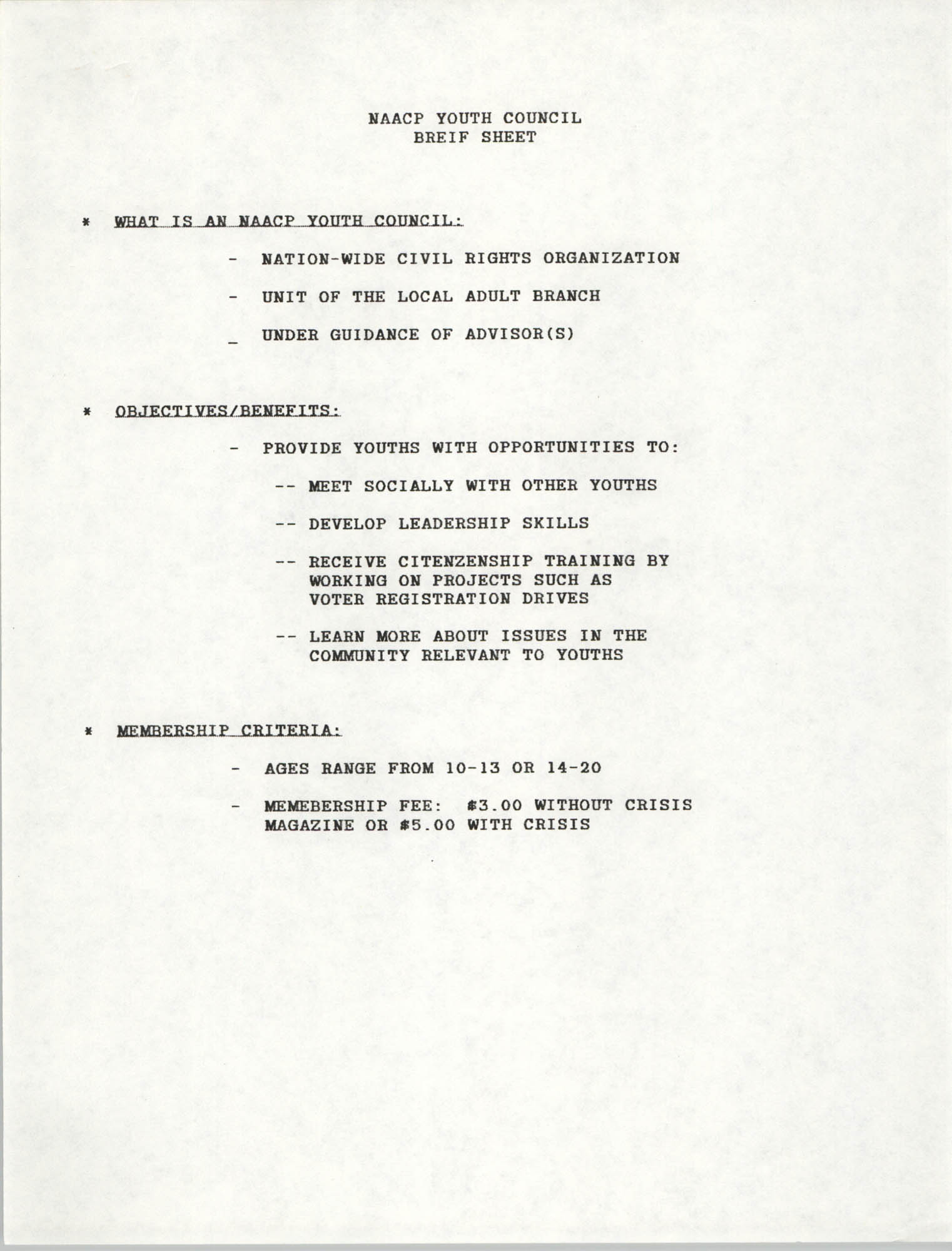 Brief Sheet, NAACP Youth Council