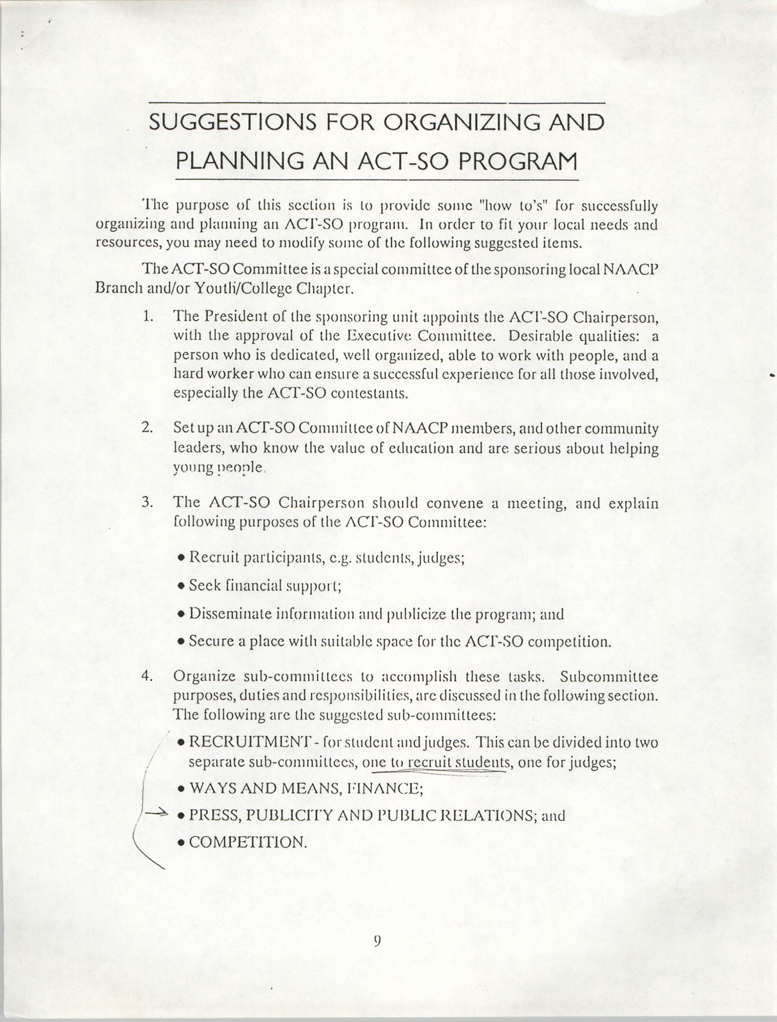 Suggestions for Organizing and Planning an ACT-SO Program, NAACP