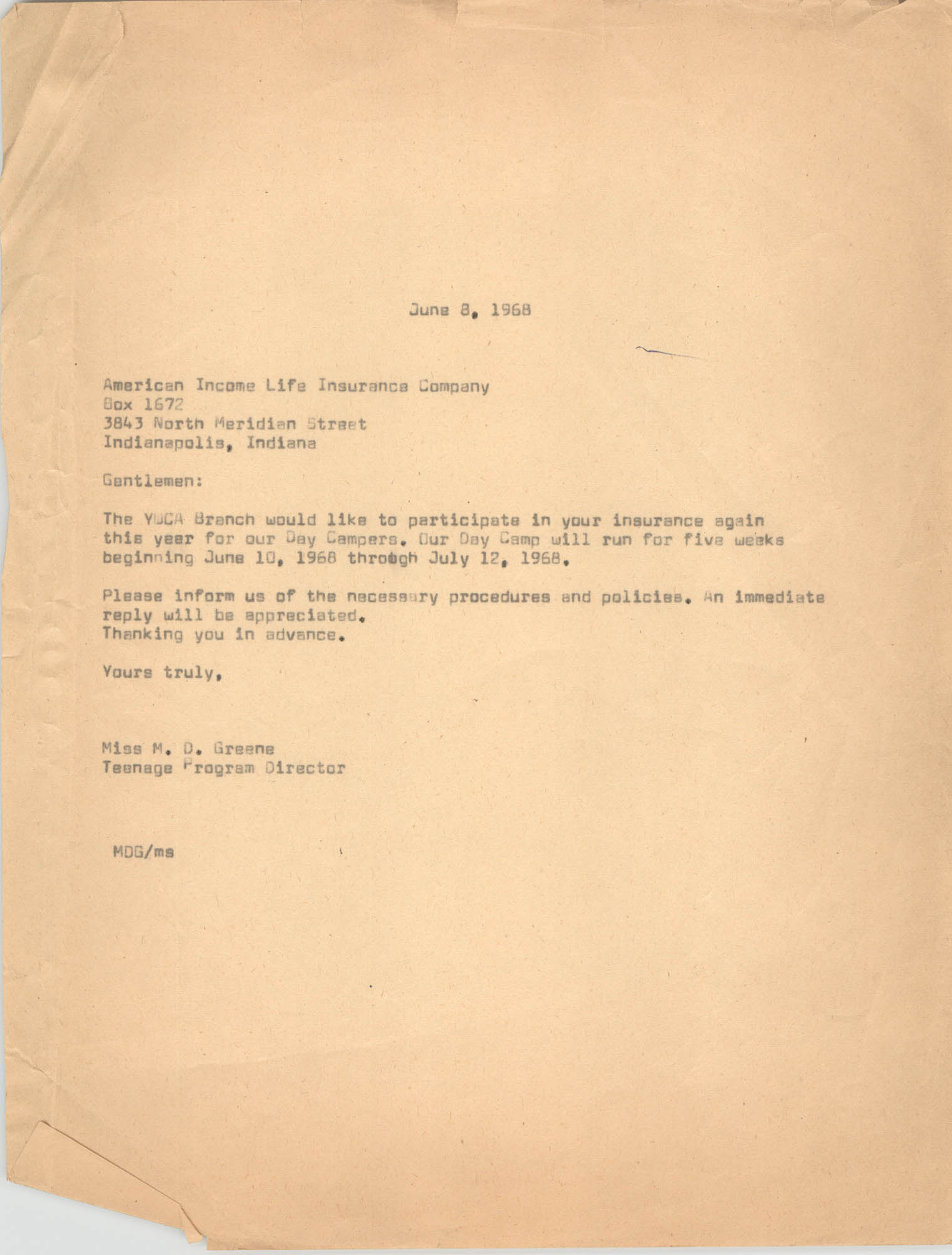 Letter from Marguerite D. Greene to American Income Life Insurance Company, June 8, 1968