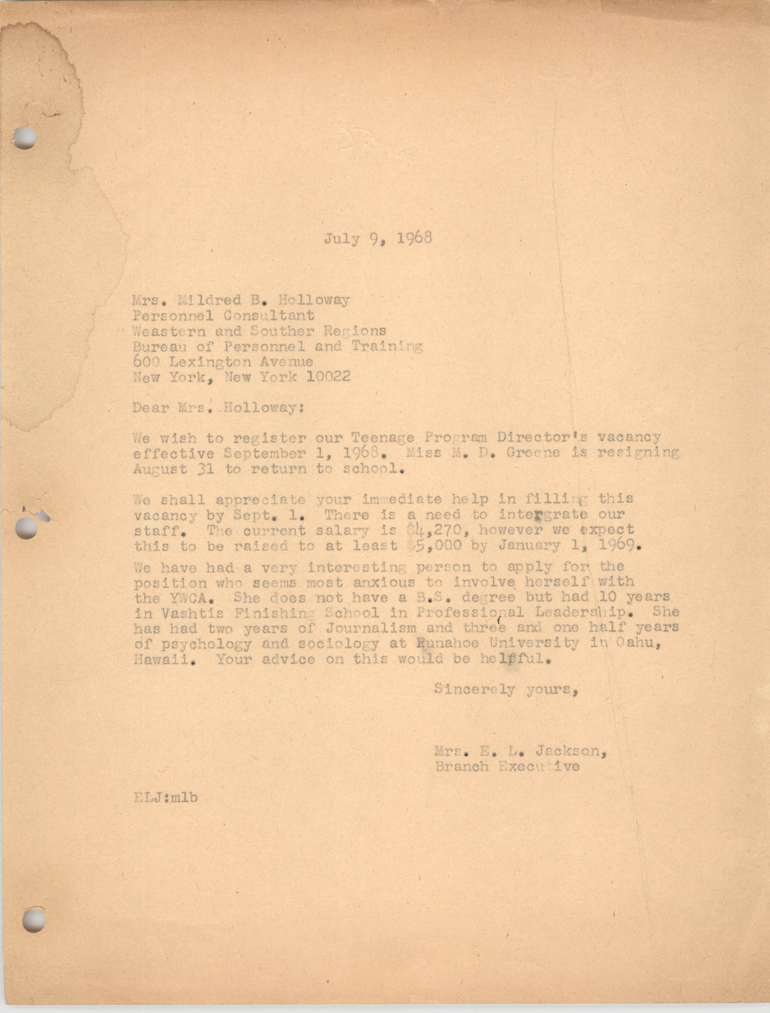 Letter from Christine O. Jackson to Mildred B. Holloway, July 9, 1968