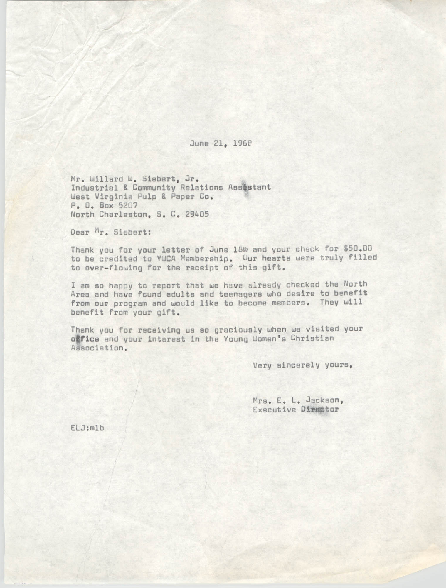 Letter from Christine O. Jackson to Willard W. Siebart, Jr., June 21, 1968