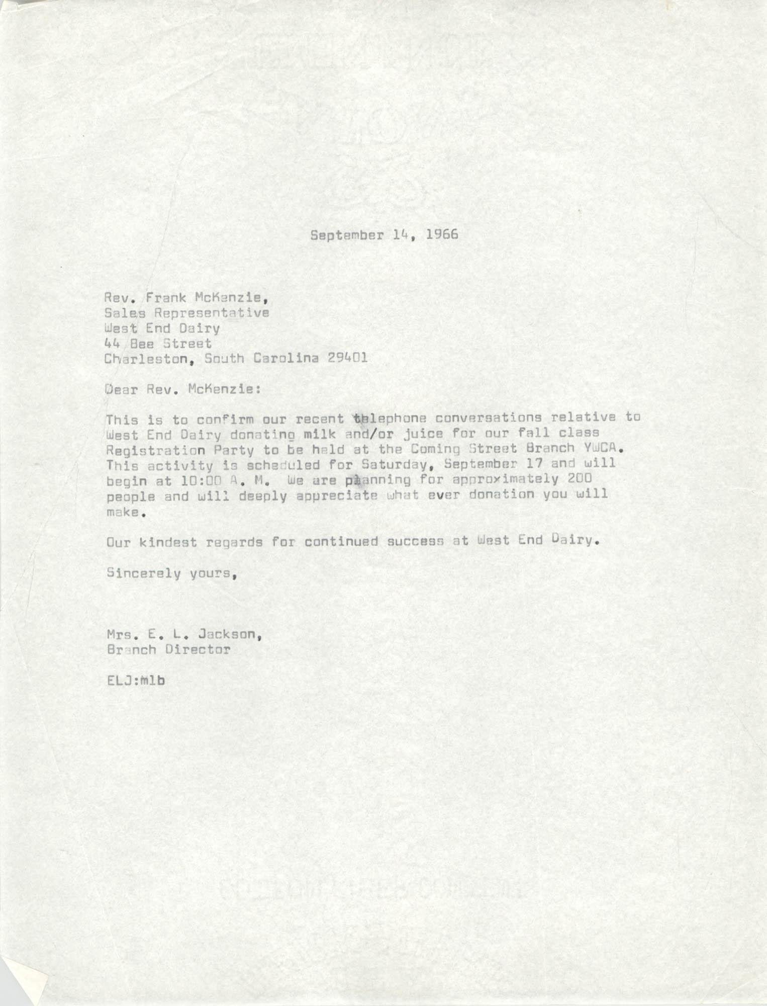 Letter from Christine O. Jackson, September 14, 1966