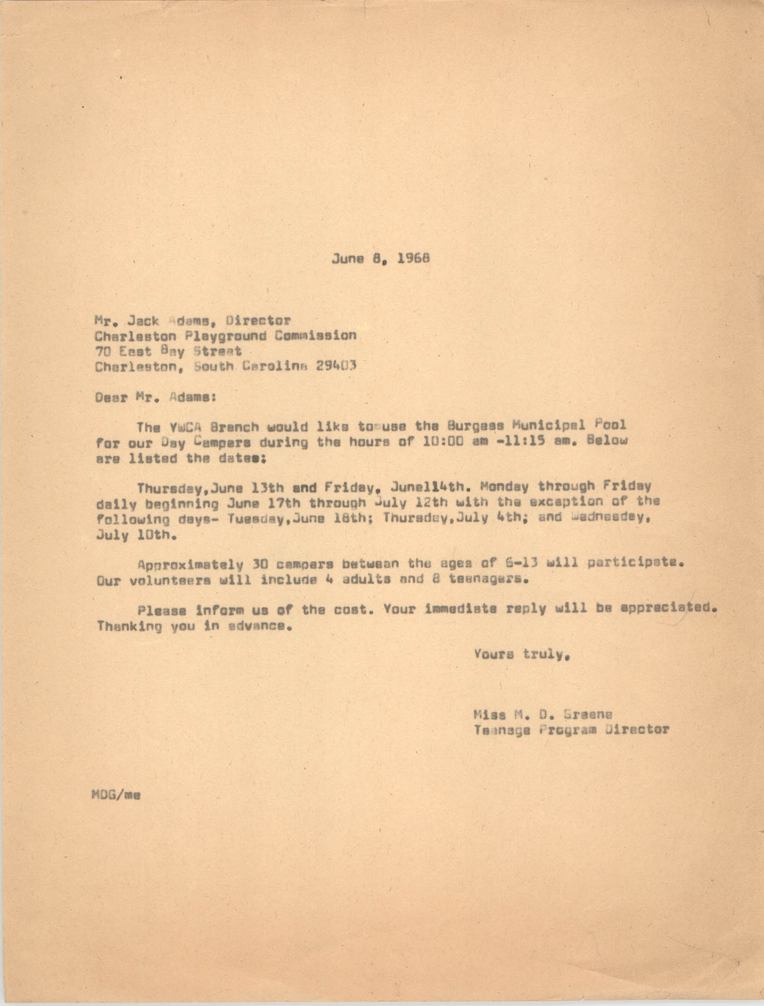 Letter from Marguerite D. Greene to Jack Adams, June 8, 1968