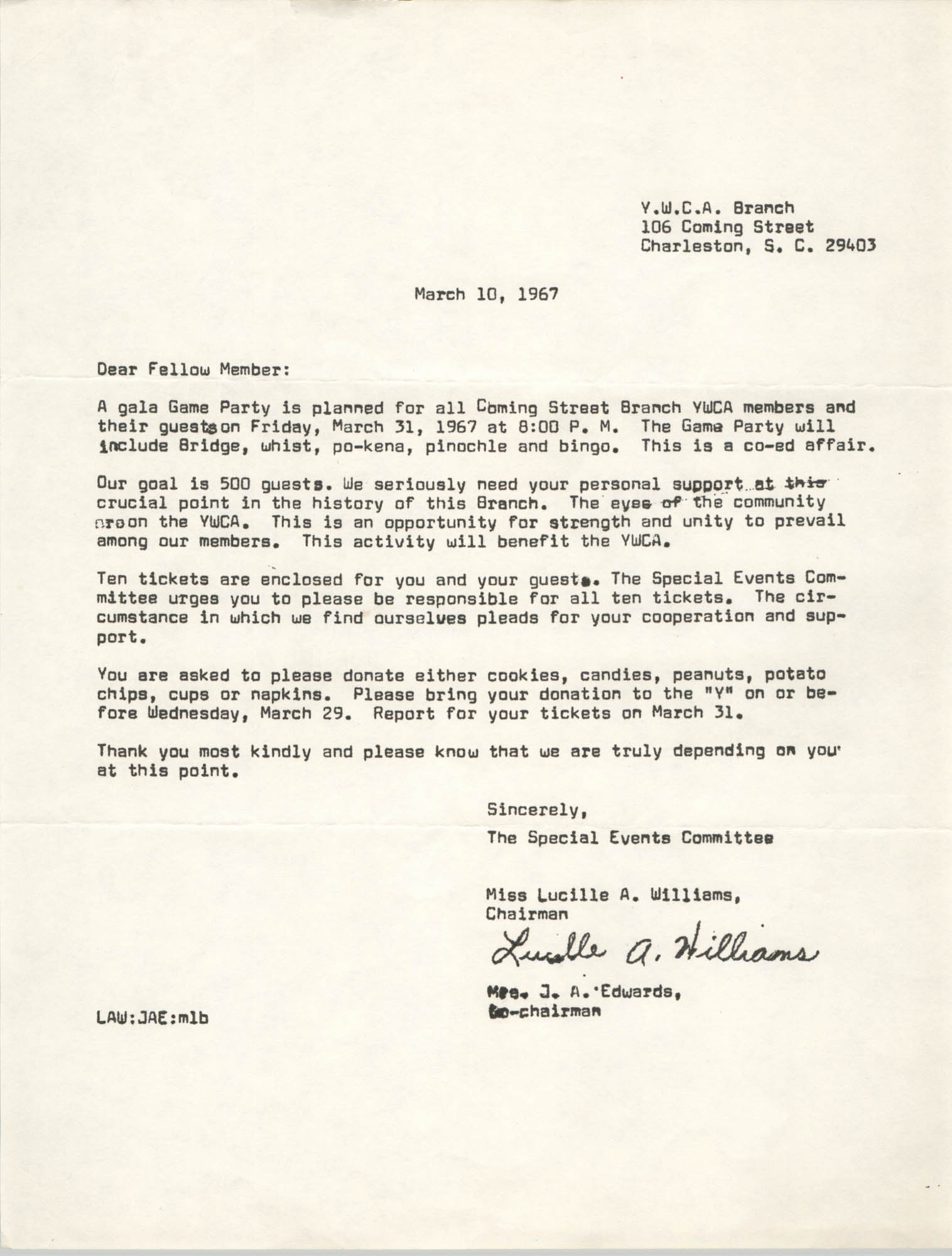 Letter from Lucille A. Williams and Mrs. J. A. Edwards to Coming Street Y.W.C.A. Members, March 10, 1967