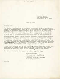 Letter from Lucille A. Williams to Friends, March 4, 1968