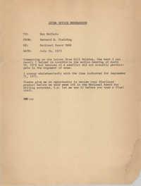 Memorandum from Bernard R. Fielding to Ray McClain, July 24, 1972