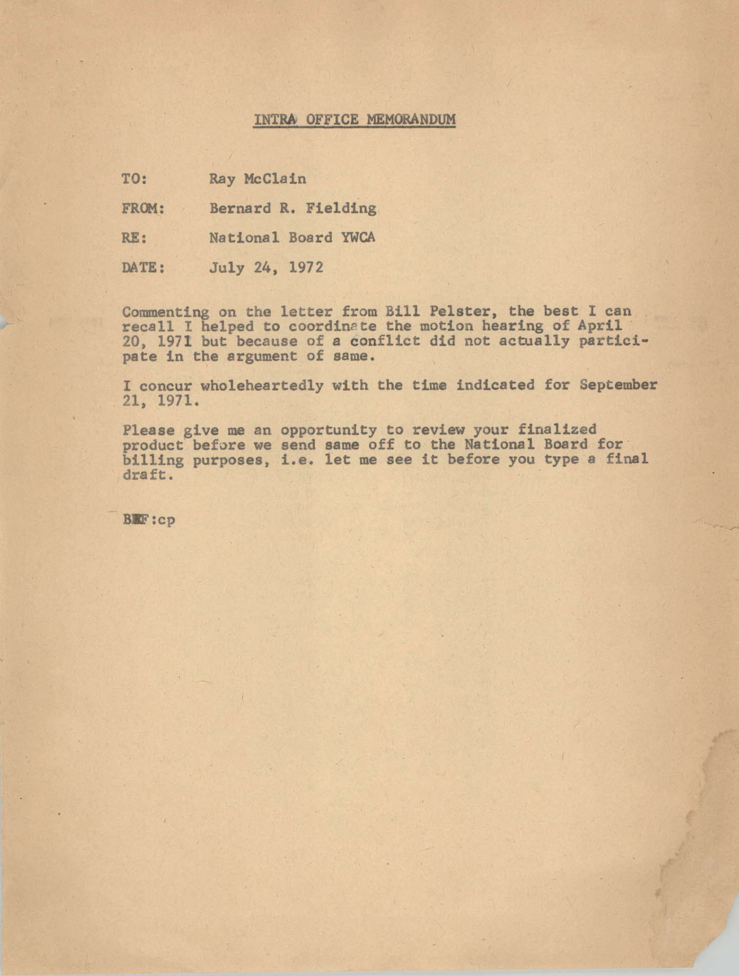 Memorandum from Bernard R. Fielding to Ray McClain, July 24, 1972