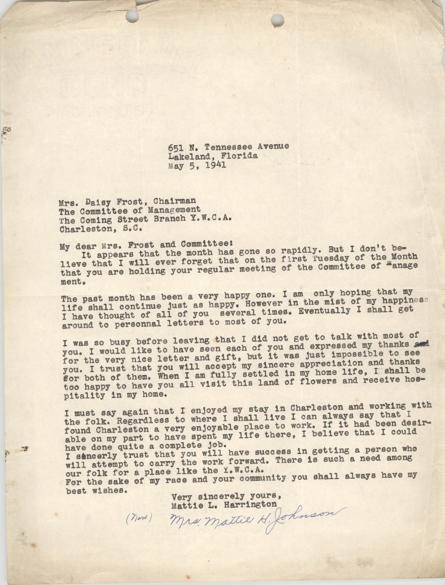 Letter from Mattie L. Harrington to Daisy Frost, May 5, 1941
