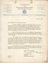 Letter from Margaret P. Mead to President and Personnel Chairman for the National Board of the Y.W.C.A., March 26, 1942