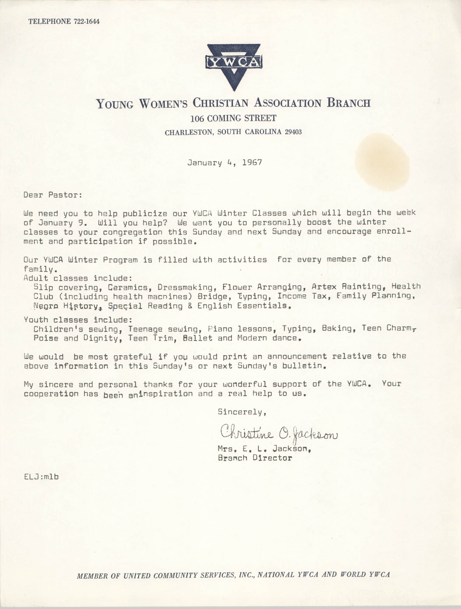 Letter from Christine O. Jackson to Arthur Jackson, January 4, 1967