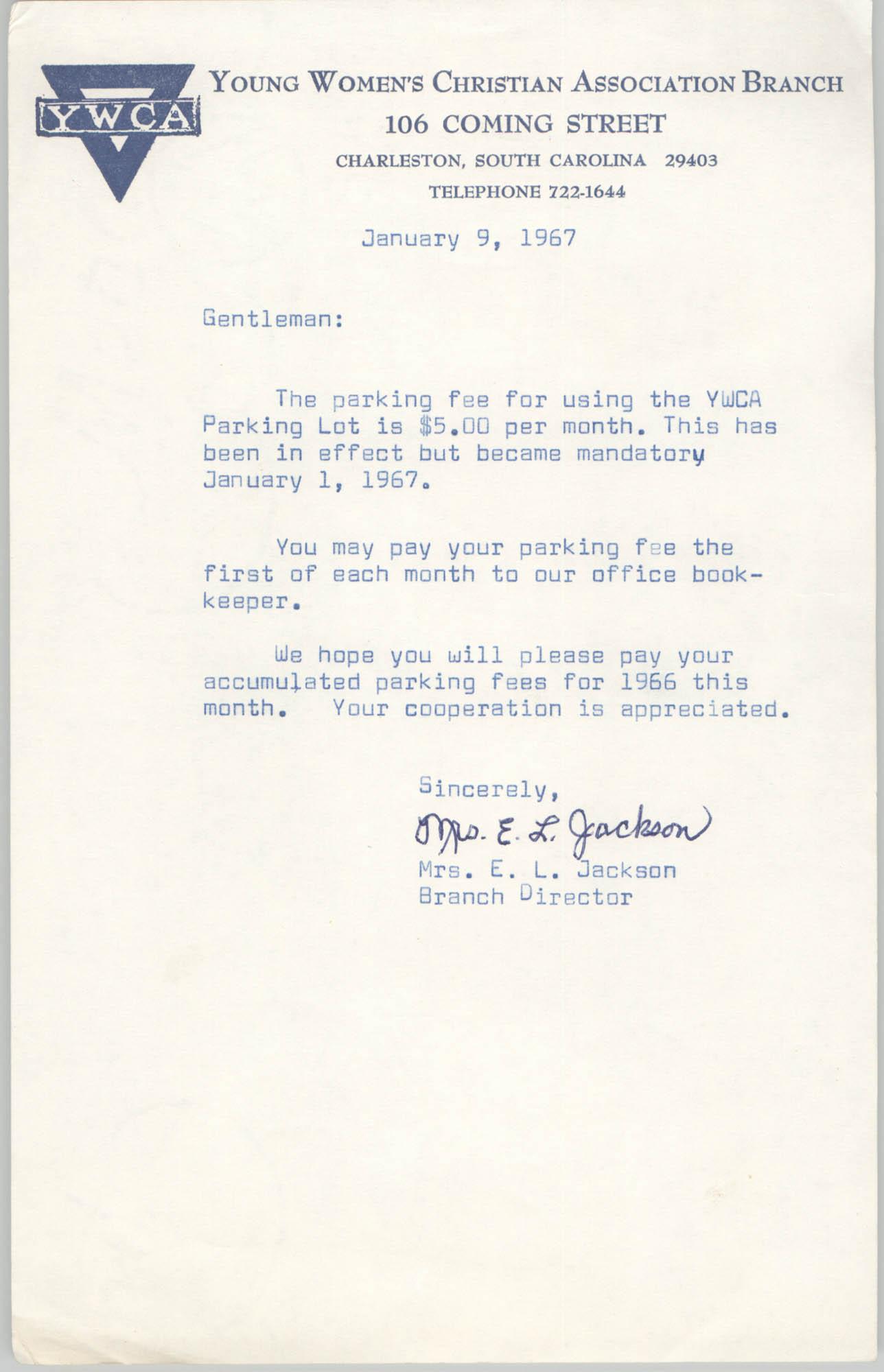 Letter from Christine O. Jackson to Arthur Jackson, January 9, 1967