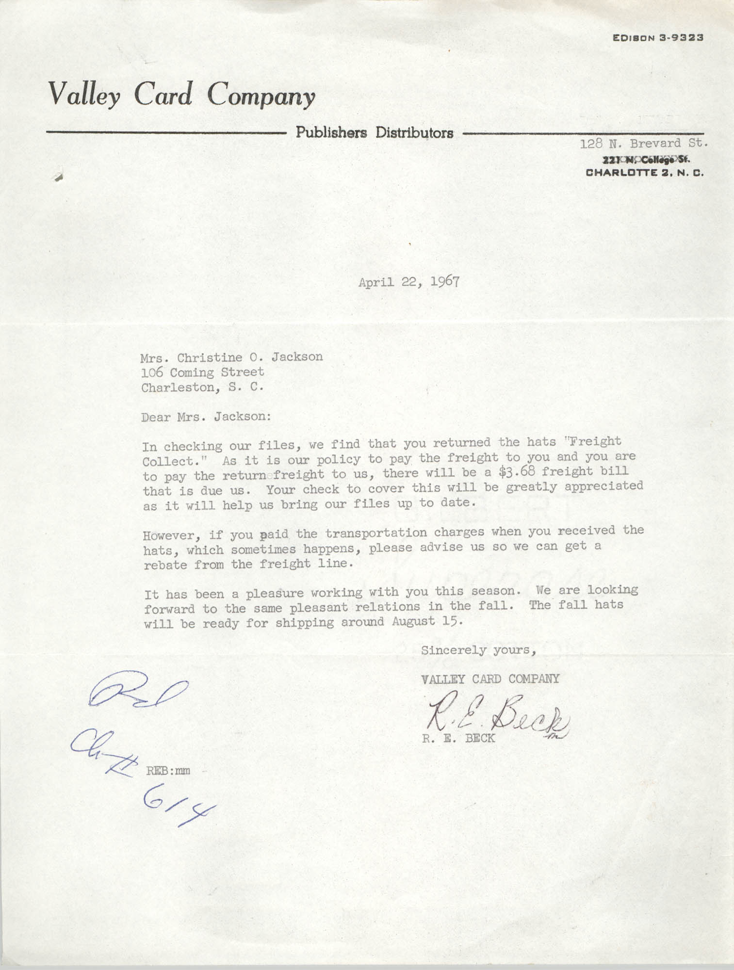 Letter from R. E. Beck to Christine O. Jackson, April 22, 1967