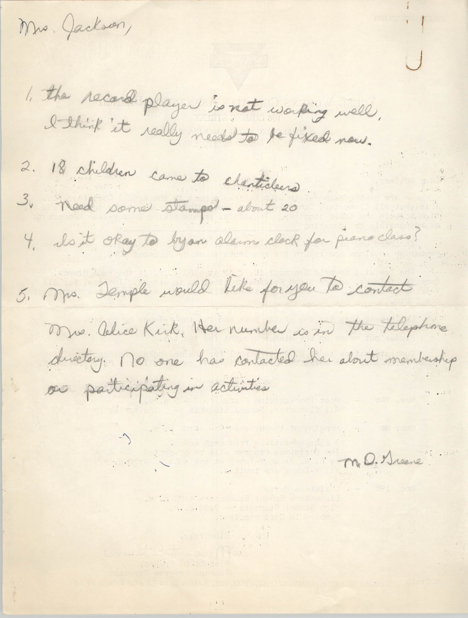 Letter from Marguerite D. Greene to Christine O. Jackson, 1967