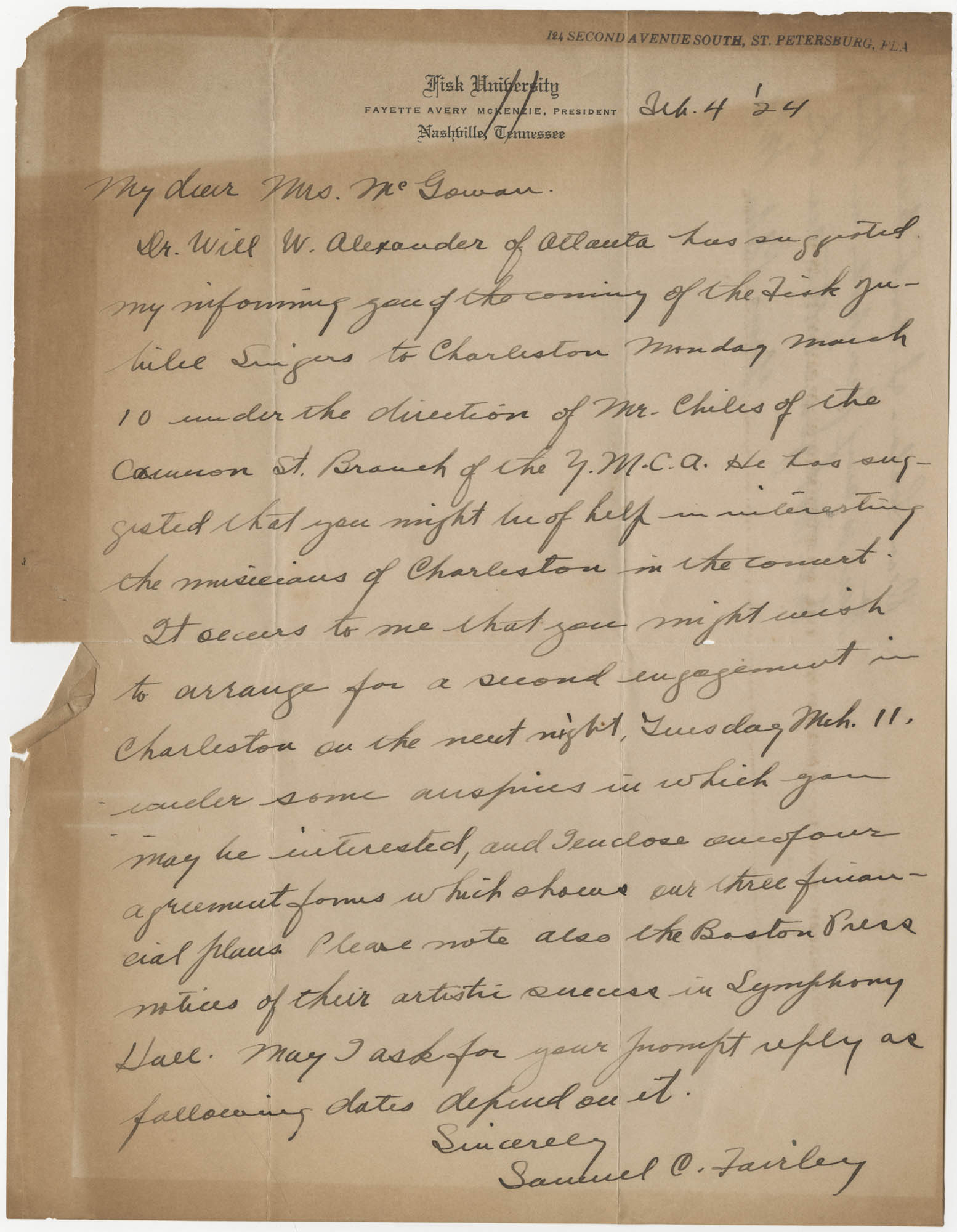 Letter from Samuel C. Fairley to