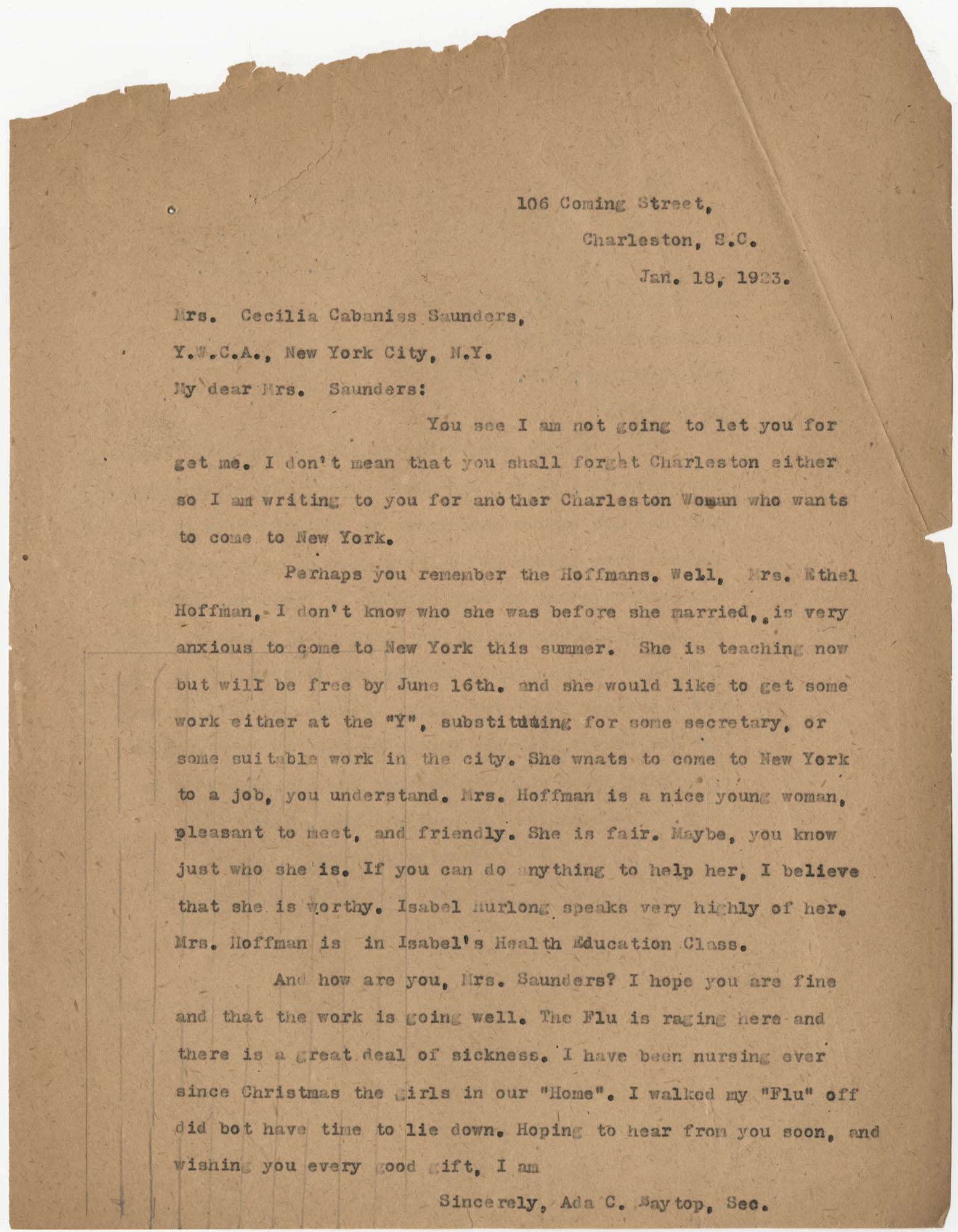 Letter from Ada C. Baytop to Cecilia Cabaniss Saunders, January 18, 1923