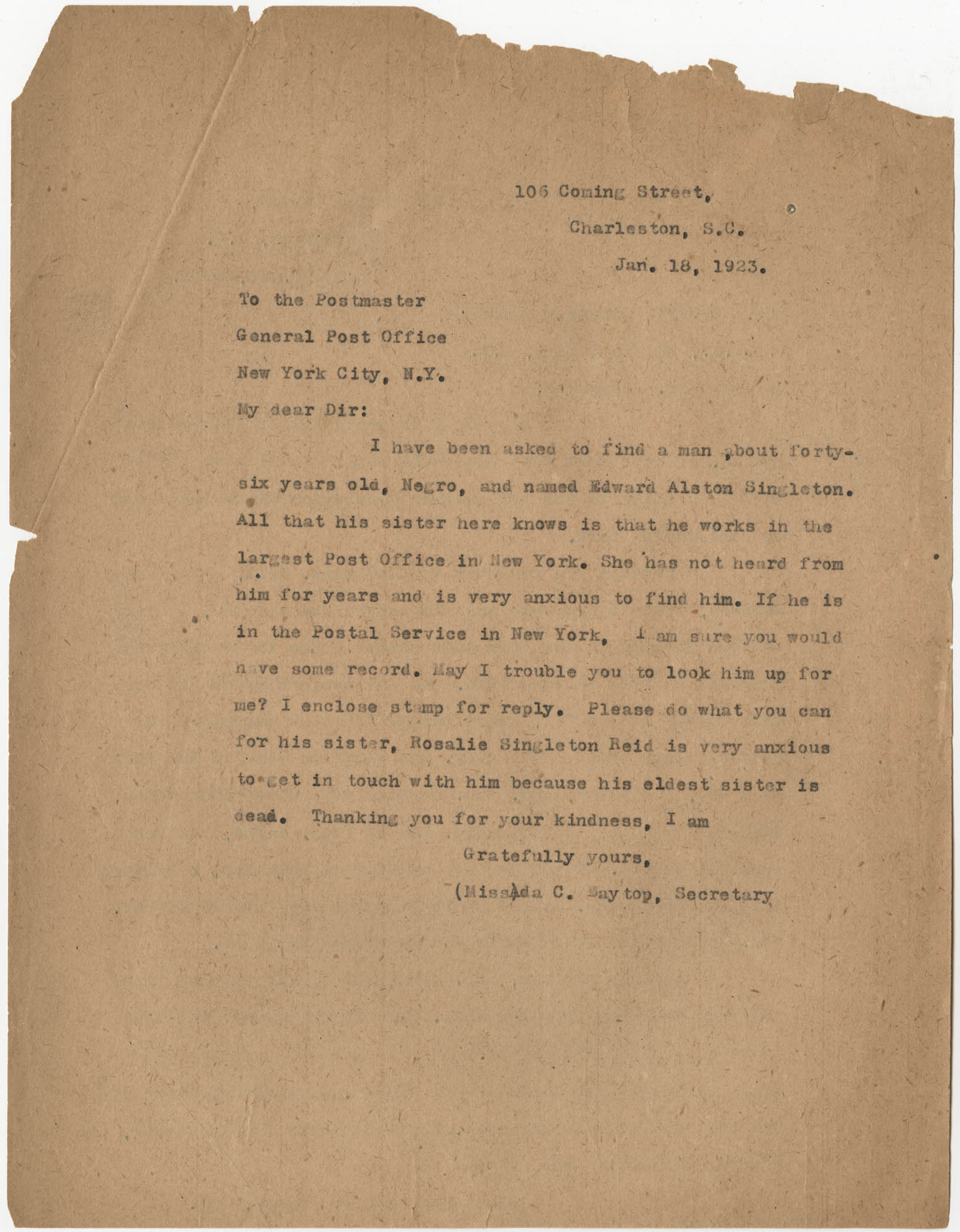 Letter from Ada C. Baytop to the Postmaster, January 18, 1923