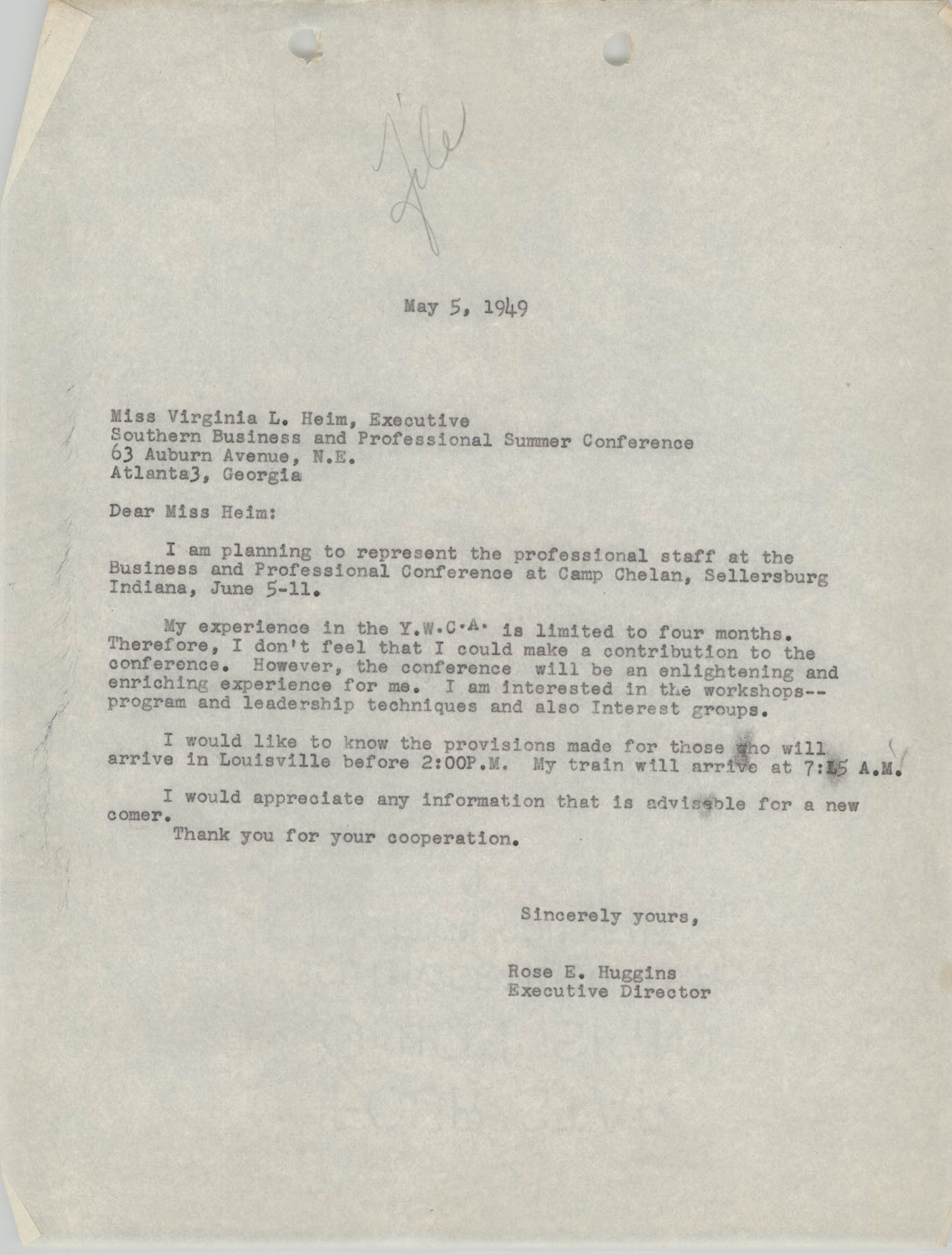 Letter from Rose E. Huggins to Virginia L. Heim, May 5, 1949
