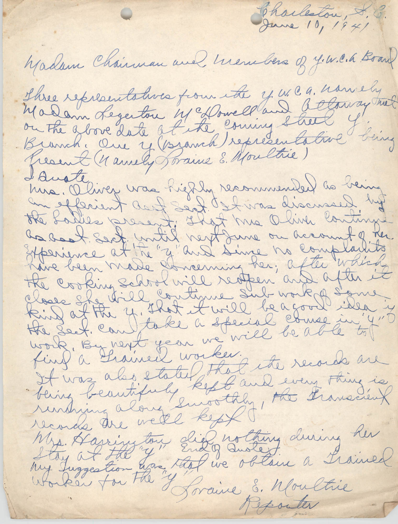 Letter from Loraine E. Moultie to Y.W.C.A. Board, June 10, 1941