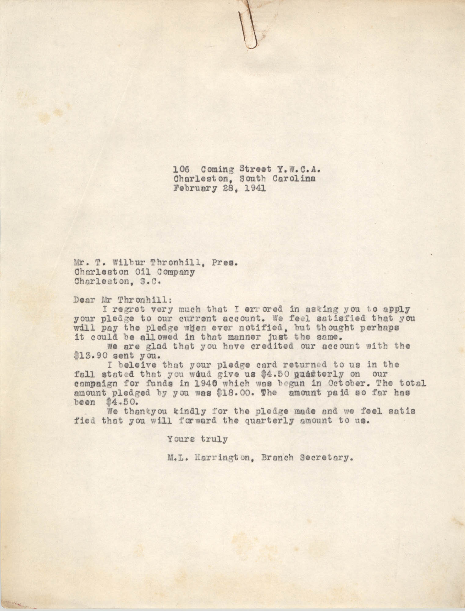 Letter from M. L. Harrington to T. Wilbur Thornhill, February 28, 1941