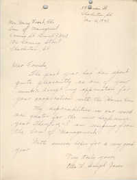 Letter from Ella L. Jones to Committee of Management, Coming Street Y.W.C.A., January 6, 1941