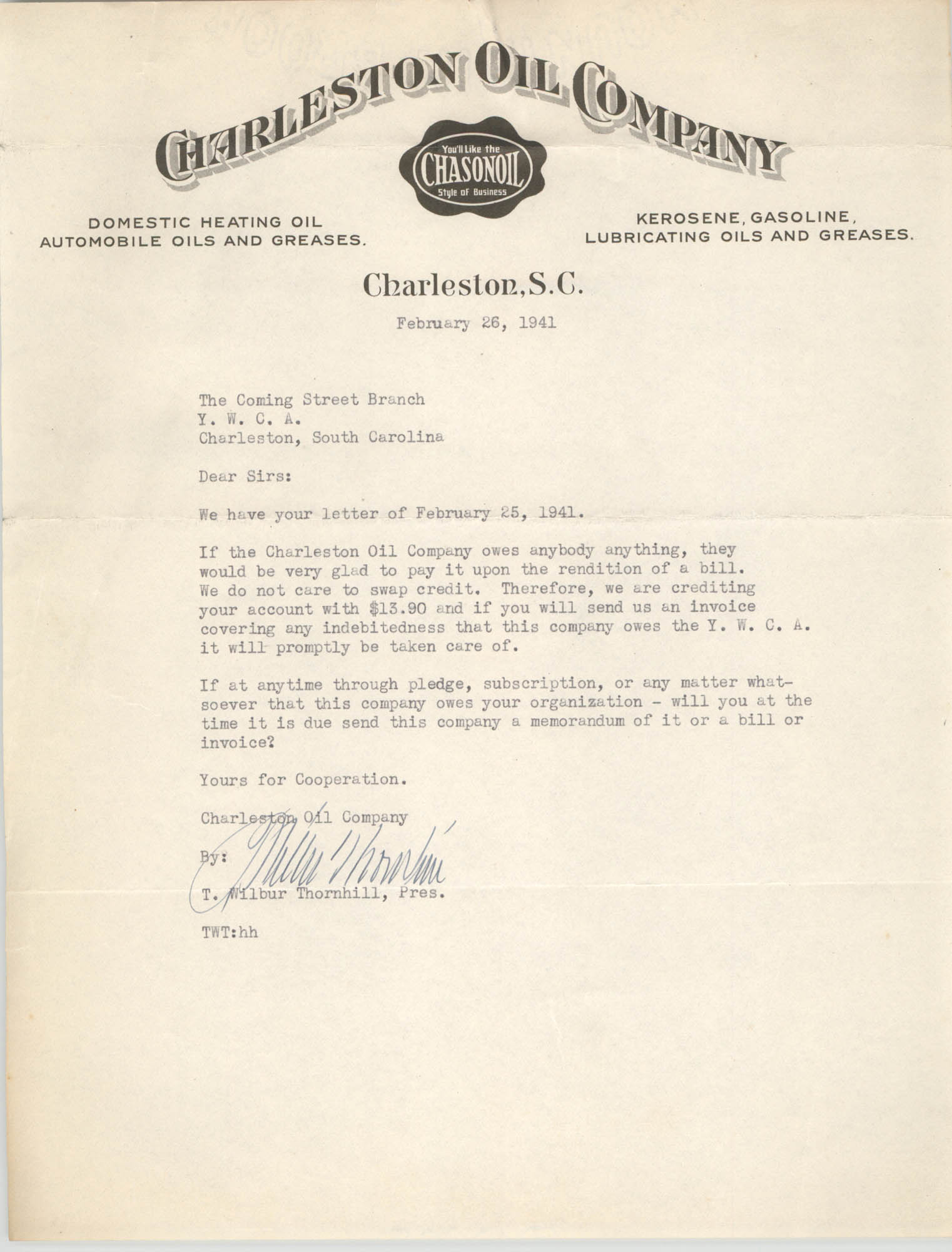 Letter from T. Wilbur Thornhill to Coming Street Y.W.C.A., February 26, 1941