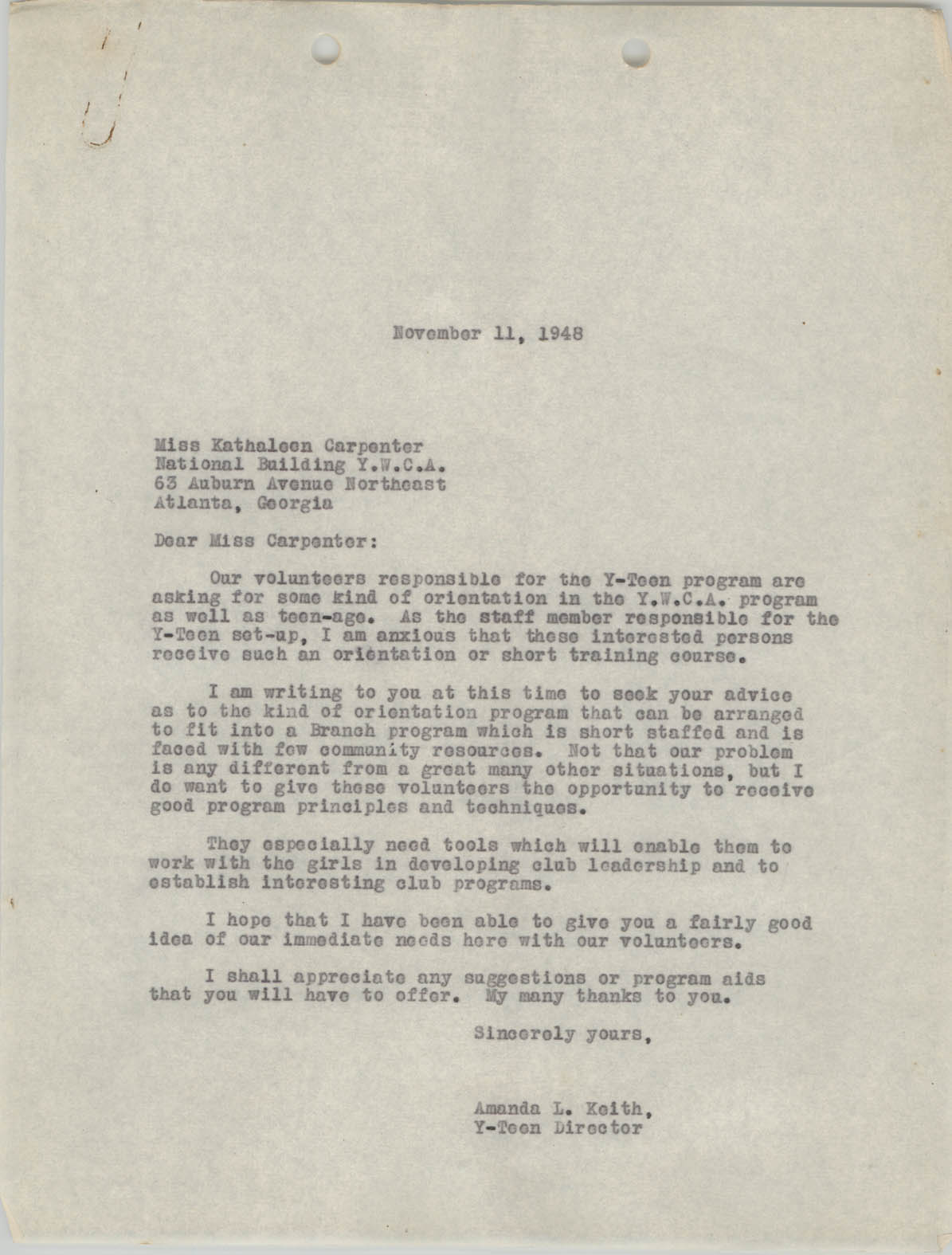Letter from Amanda L. Keith to Kathaleen Carpenter, November 11, 1948