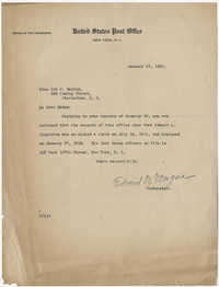 Letter from Edward M. Morgan to Ada C. Baytop, January 23, 1923