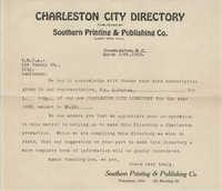 Letter from Southern Printing and Publishing Co. to Coming Street Y.W.C.A., March 29, 1923
