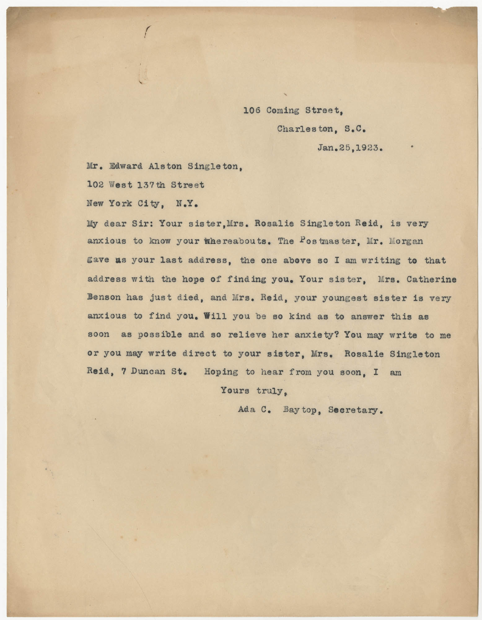 Letter from Ada C. Baytop to Edward Alston Singleton, January 25, 1923