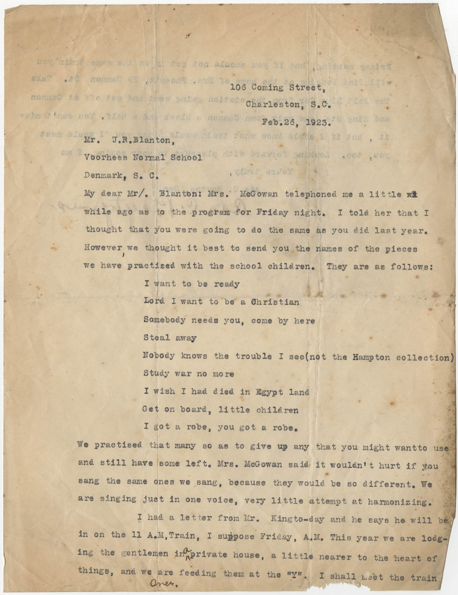 Letter from Ada C. Baytop to J. R. Blanton, February 26, 1923