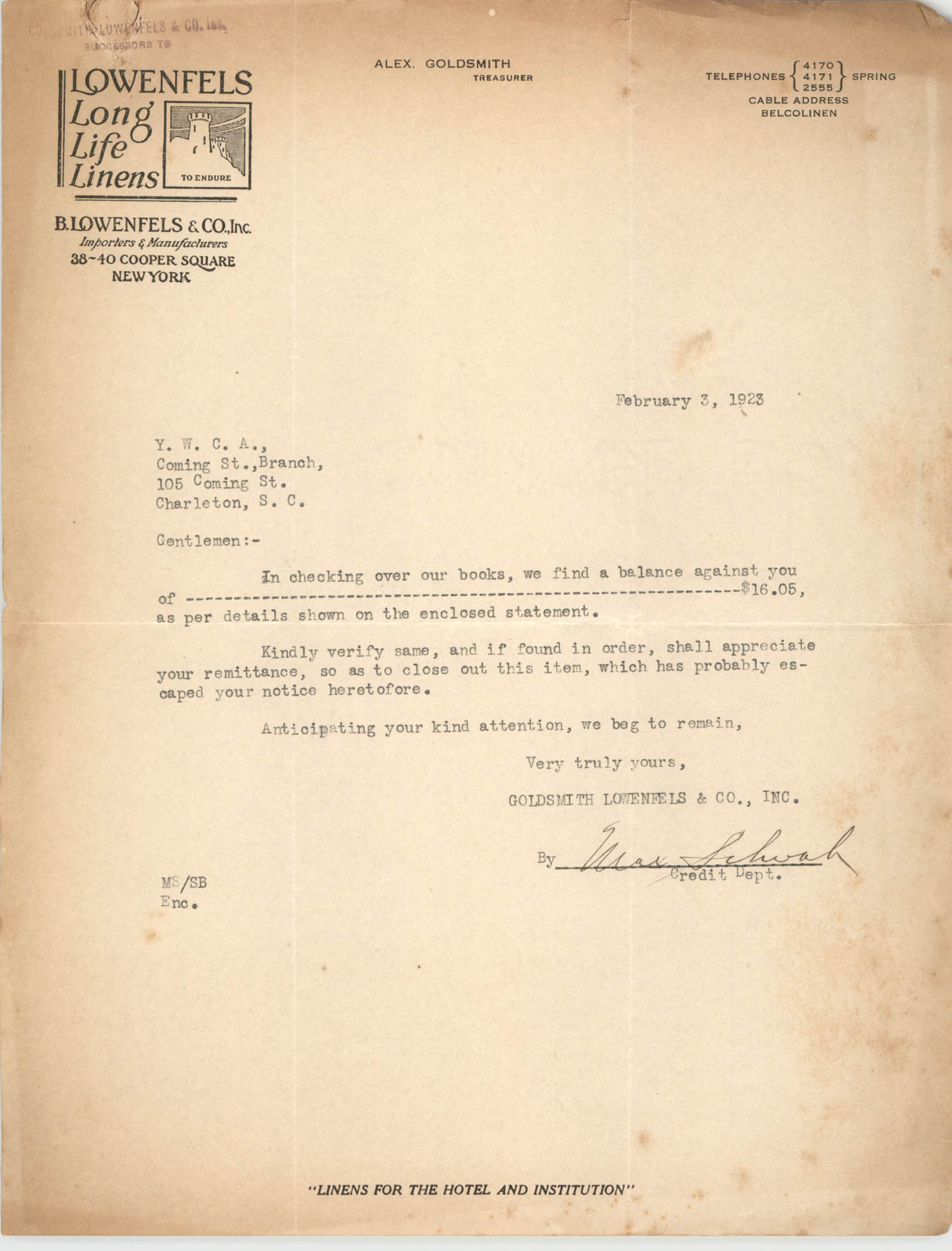 Letter from Goldsmith, Lowenfels and Co., Inc. to Coming Street Y.W.C.A., February 3, 1923