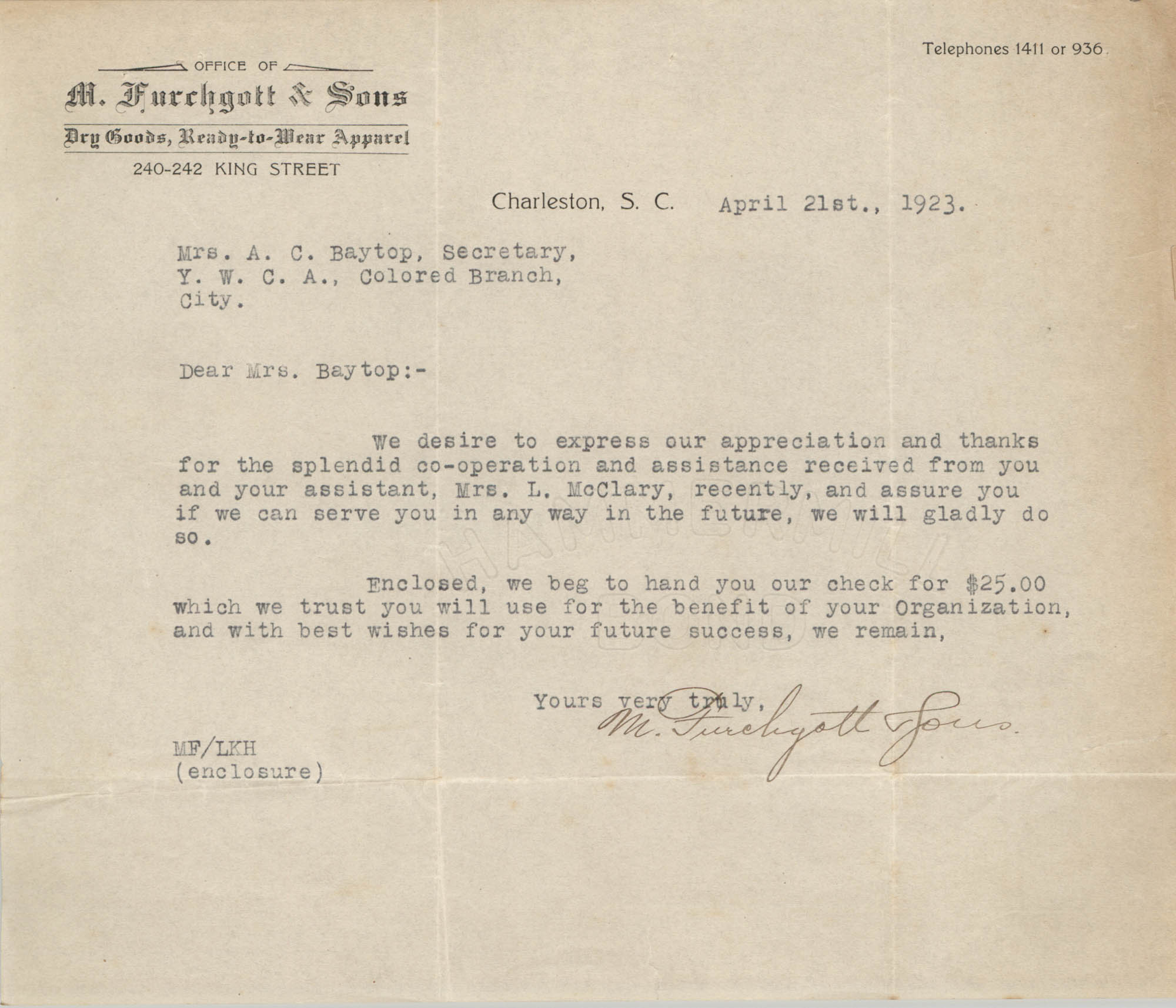 Letter from M. Furchgott and Sons to Ada C. Baytop, April 21, 1923