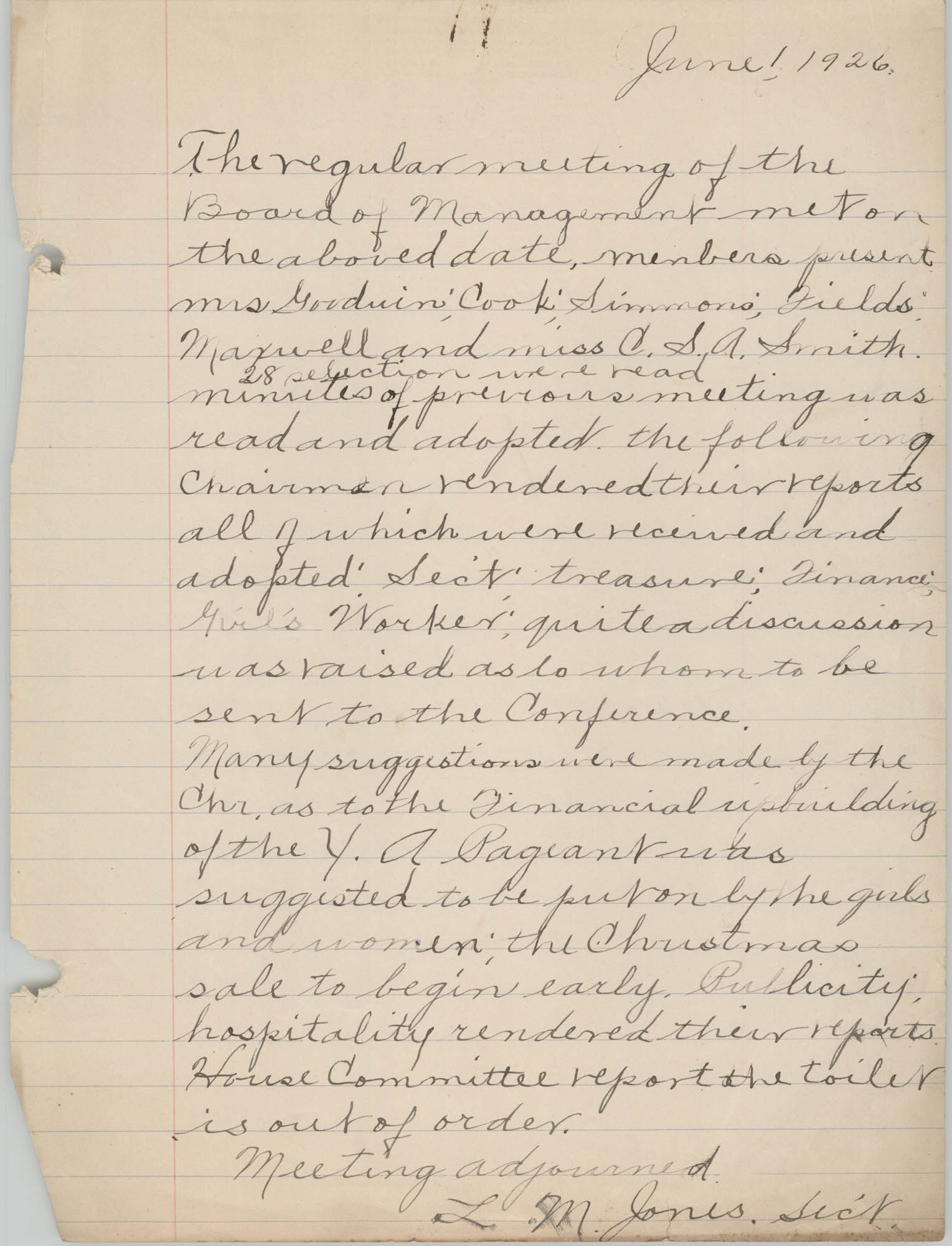 Minutes to the Board of Management, Coming Street Y.W.C.A., June 1, 1926