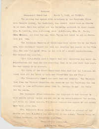 Minutes to the Board of Management Meeting, Coming Street Y.W.C.A., March 7, 1923