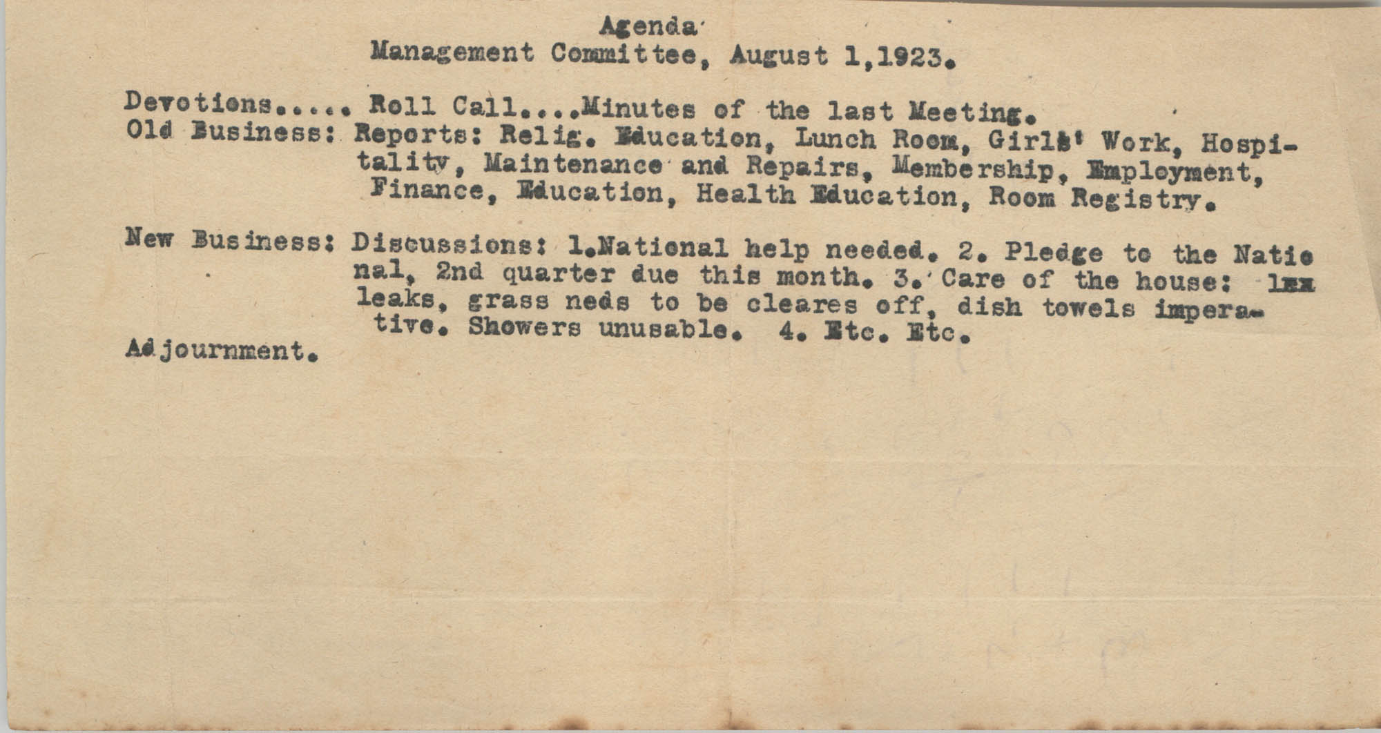 Agenda, Management Committee of the Coming Street Y.W.C.A., August 1, 1923
