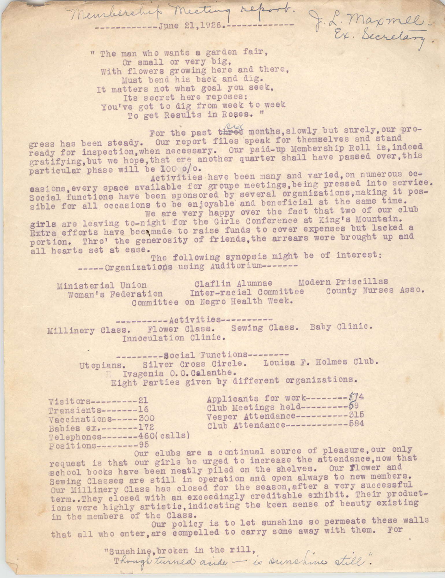 Membership Meeting Report for the Coming Street Y.W.C.A., June 21, 1926
