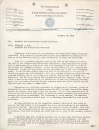 National Board of the Y.W.C.A. Memorandum, December 29, 1948