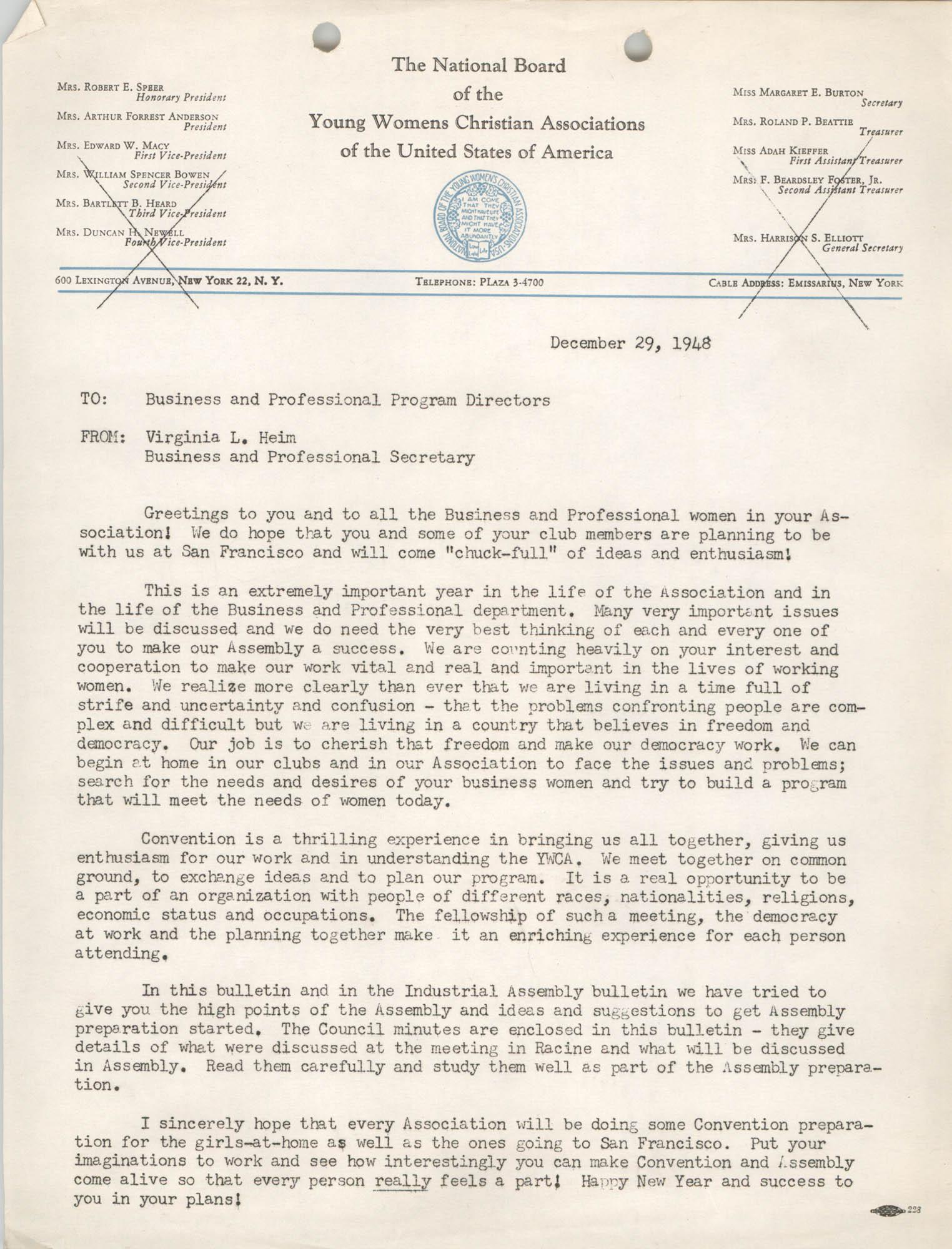 National Board of the Y.W.C.A. Memorandum, December 29, 1948