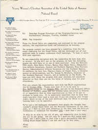 National Board of the Y.W.C.A. Memorandum, October 5, 1949