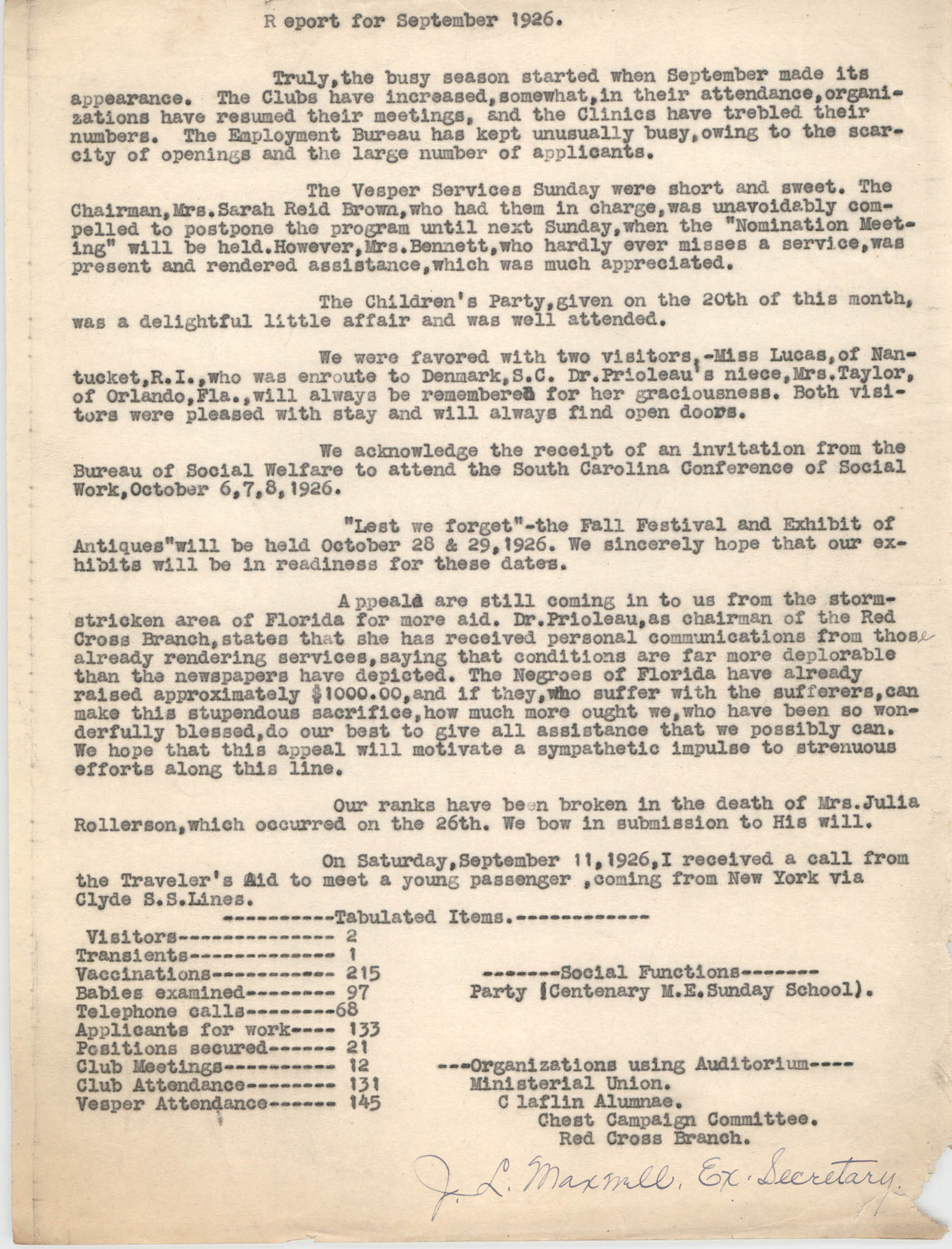 Monthly Report for the Coming Street Y.W.C.A., September 1926