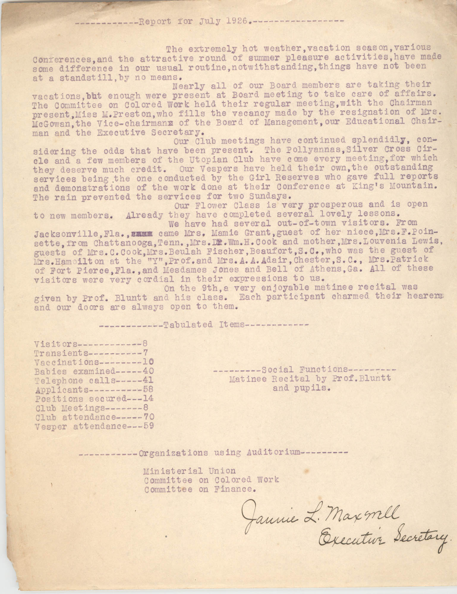 Monthly Report for the Coming Street Y.W.C.A., July 1926