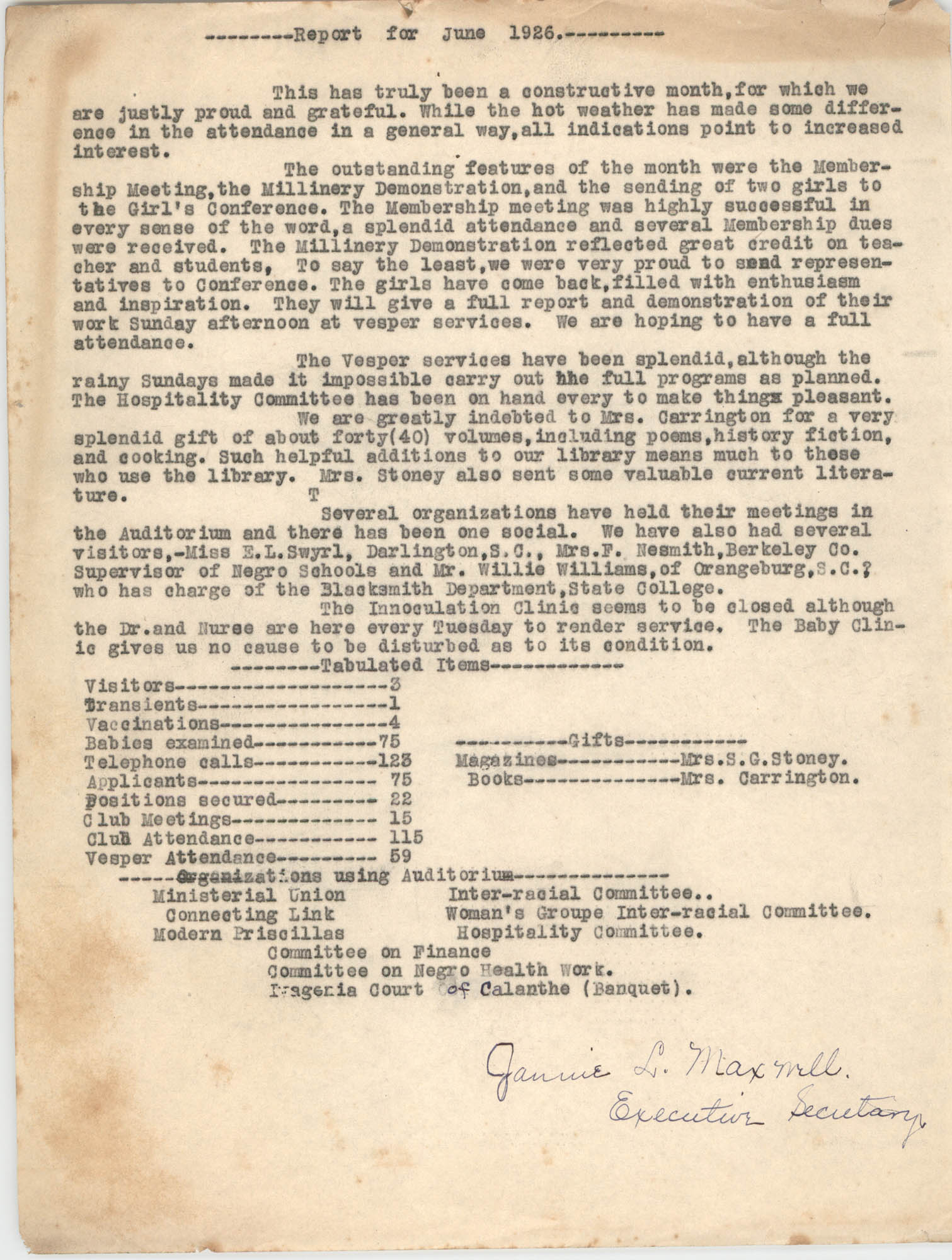 Monthly Report for the Coming Street Y.W.C.A., June 1926